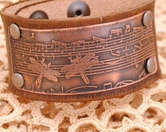 Music Bracelet Cuff, Distressed Leather Bracelet, Dragonfly Bracelet Cuff, Etched Copper Jewelry, Music and Dragonflies, brass, silver