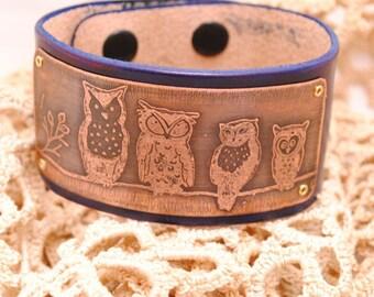 Owl Bracelet Etched Copper Bracelet Leather Cuff Navy