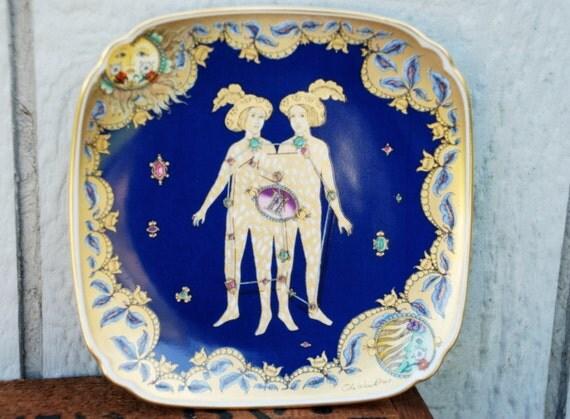SALE Ole Winther Collectible Gemini Zodiac Plate, Cobalt Blue