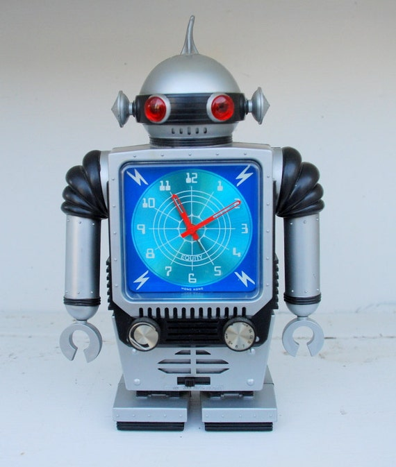 50% Off SALE Vintage RARE 1970's Radio Shack Equity Robot Alarm Clock / AM Radio With Box