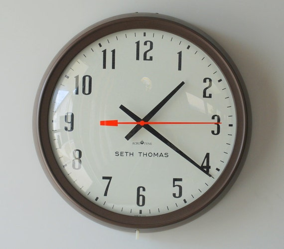 Vintage Industrial Wall Clock Seth Thomas Acrotyne Manager 12
