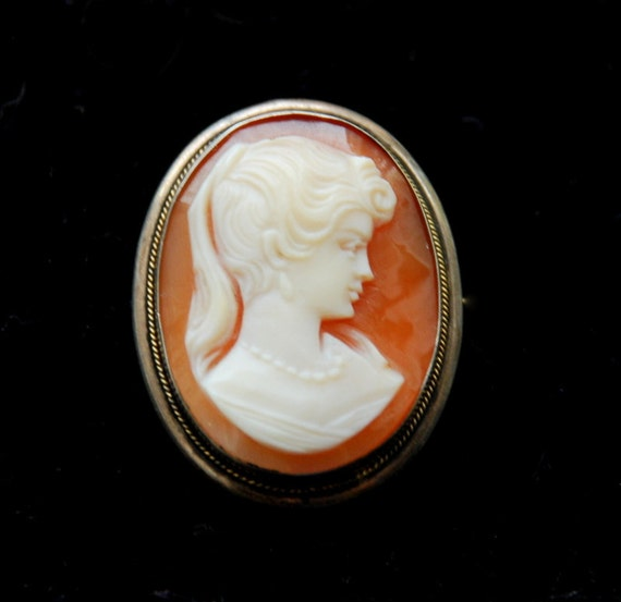 SALE Antique Cameo Brooch Pendant, 800 Sterling Silver and Hand-Carved Shell
