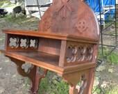 huge antique walnut 1890s - 1900 GOTHIC VICTORIAN WALL mount shelf