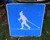 vintage ALUMINUM SNOW SKIING ski trail advertising sign
