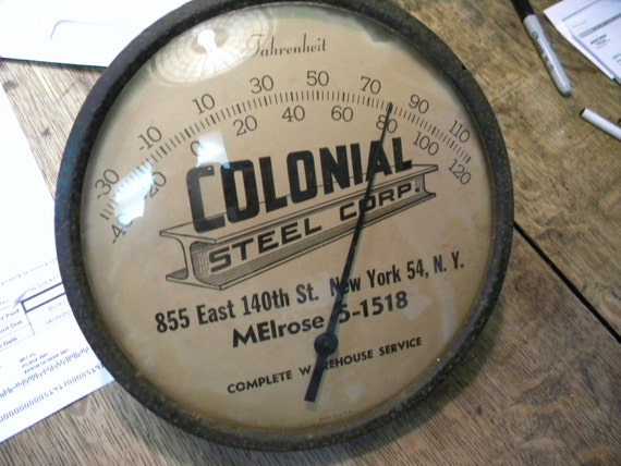 vintage antique 1920s or so COLONIAL STEEL ADVERTISING thermometer convex glass.