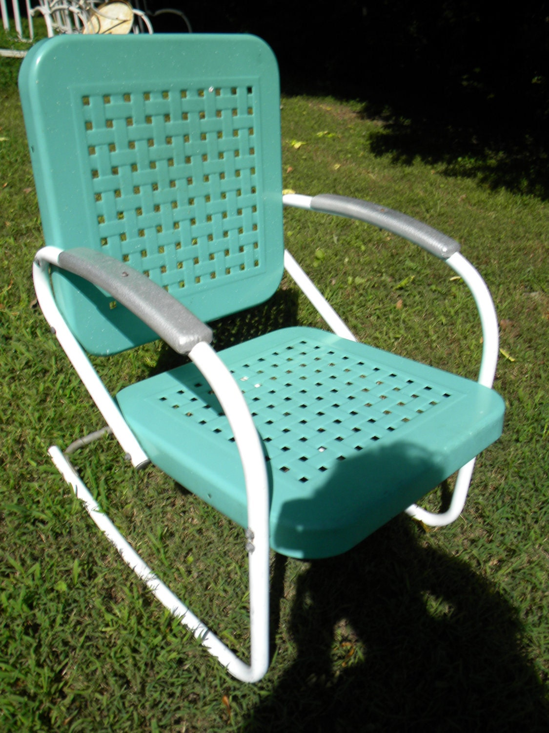 Reserve for sandy vtg 50s 60s retro outdoor metal lawn patio Metal patio furniture vintage