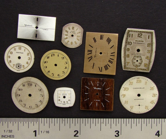 Antique Vintage brass, silver, gold tone round, square wristwatch pocket, watch dials lot of 10, jewelry, Steampunk Art Supplies 352