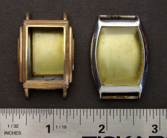 Antique Vintage silver gold wristwatch movement cases watch parts ideal for jewelry, industrial, altered art, Steampunk Art Supplies 948