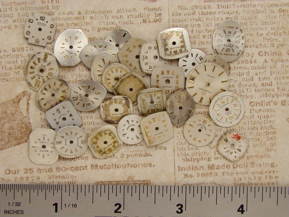 Antique Vintage brass silver gold round square watch parts dials lot for jewelry assemblage collage mixed media Steampunk Art Supplies 1949