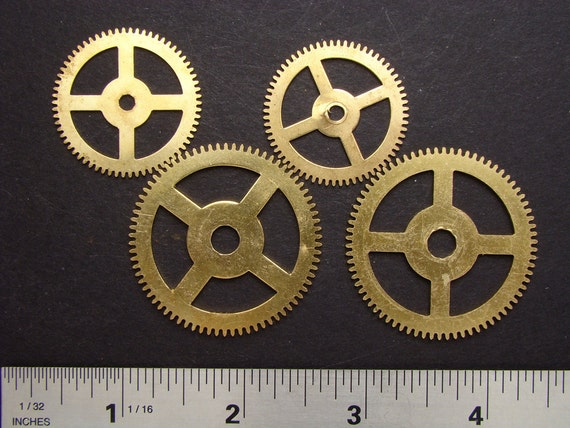 Steampunk parts Antique brass clock work gears cogs wheels vintage for goggles sculpture jewelry industrial assemblage altered art 2099