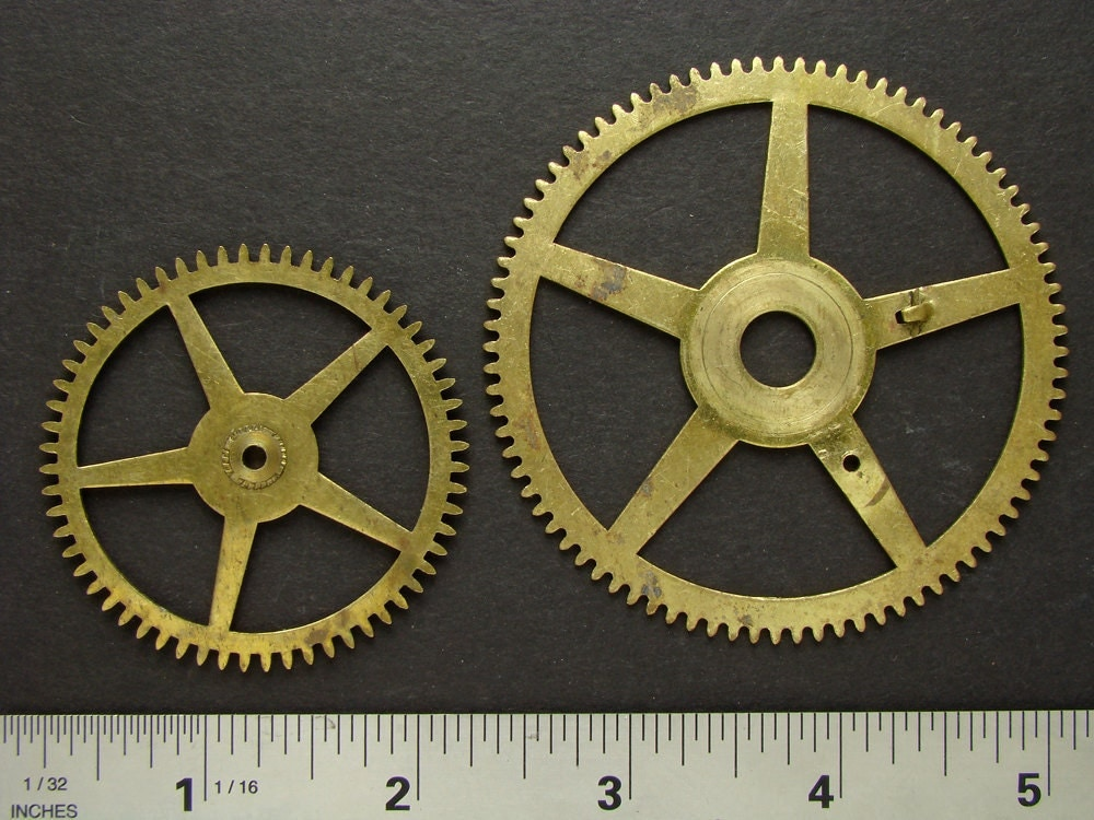 Antique Wheels And Gears : Antique brass large clock gears cogs wheels great for goggles