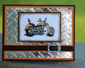 Handcrafted Masculine Motorcycle Harley Father's Day, Birthday, Love,Thinking of You Card