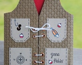 Handcrafted Masculine Fishing Vest Father's Day, Birthday, Love, Thinking of You Card