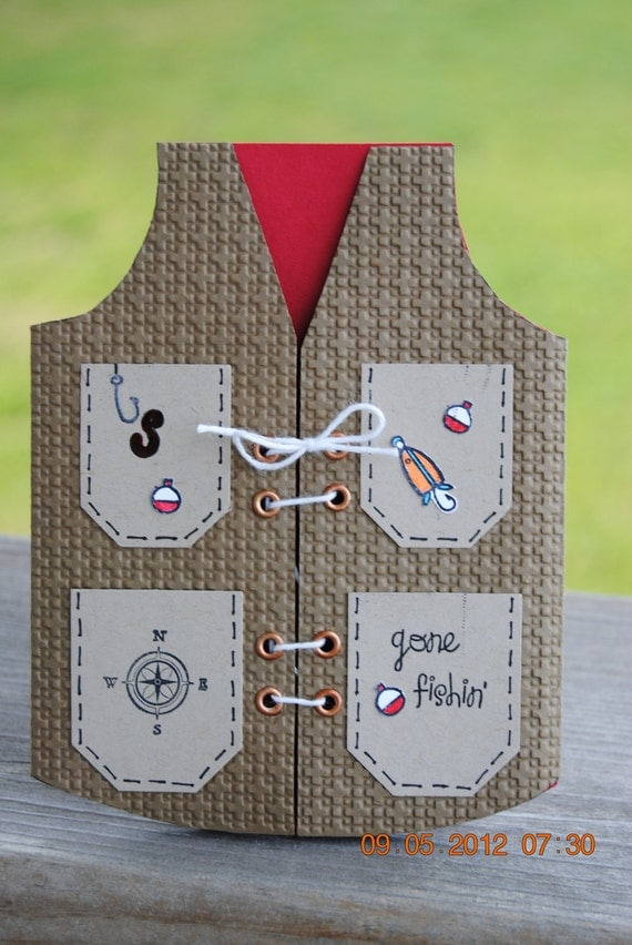 Handcrafted masculine fishing vest father 39 s day birthday for Father s day fishing card