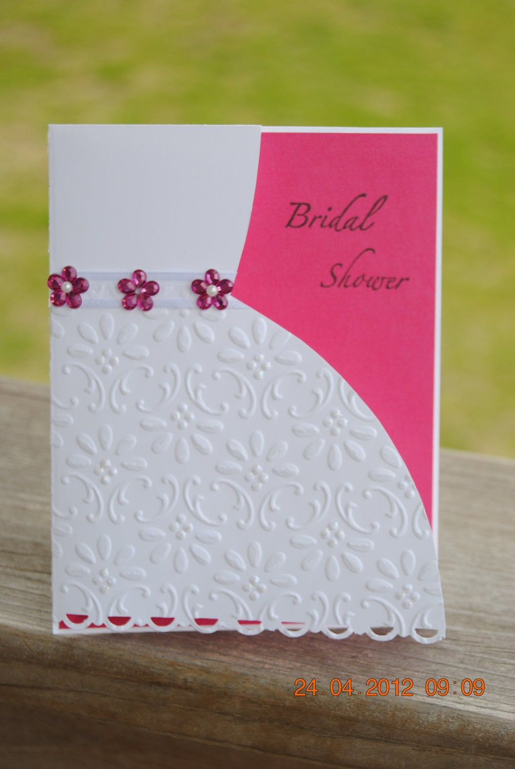 Handcrafted Embossed Bridal Shower Card Invitation