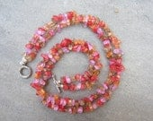 Red, Pink, Orange, Brown Crackle Glass Chip Necklace