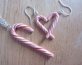 Candy Cane Cutie Earrings and Necklace Set - Weirdly Cute Christmas Jewelry - Unique Gift Idea