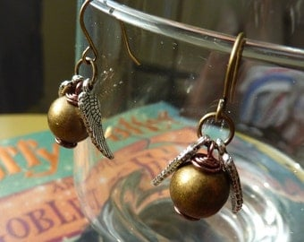 CLEARANCE 50% OFF - Golden Winged Ball Earrings - Wizard Jewelry by Weirdly Cute