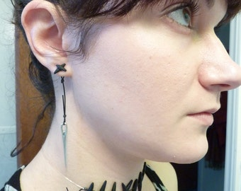 Zombie Stitch Post Earrings with Needle Charm - Awesome Sewn Up Ear Illusion - Weirdly Cute Halloween Jewelry