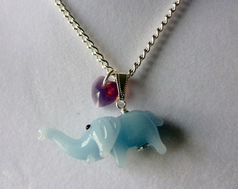 CLEARANCE 50% OFF - Cute Elephant Necklace - Glass Elephant charm necklace with Swarovski Crystal Heart by Weirdly Cute