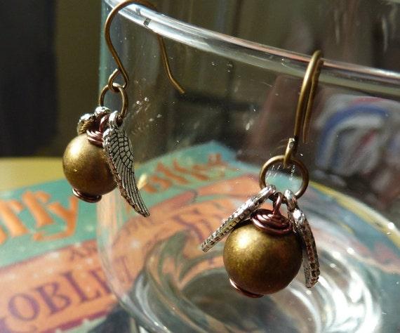 Golden Winged Ball Earrings - Wizard Jewelry by Weirdly Cute