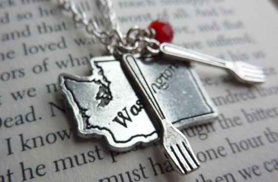 Forks Washington Charm Necklace - Twilight Inspired Vampire Jewelry by Weirdly Cute - Great Gift Idea for Twilight Fan
