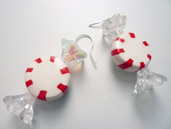 Starlight Mint Candy Earrings - Weirdly Cute Christmas Jewelry - Unique Holiday Gift Idea for your favorite sweet tooth