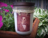 Primitive Label Abe Lincoln Rustic Mason Jar Candle  - CPLG, ab4b, wrr, OFG, teametsyfolk