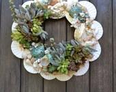 Blue Laguna Shell & Succulent Wreath