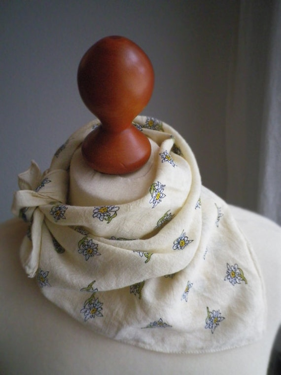 SALE / vintage, Edelweiss scarf, Bavaria, cotton,