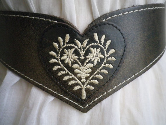 vintage, leather embroiderd heart