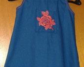 SALE PRICED Babys Embroidered Rose Pocket Denim Sundress - Size 1