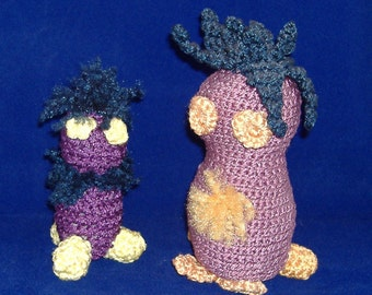 Purple Pair of Amigurumi - 7 inches and 5 inches Tall