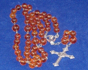 Amber and Silver Rosary, Necklace and Prayer Beads