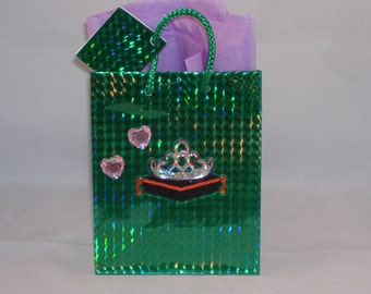 "Small Green Foiled Gift Bag - Embellished with Shiny Crown & Hearts- 5 1/2"" tall x 4 1/2"" wide x 2 1/2"" deep"