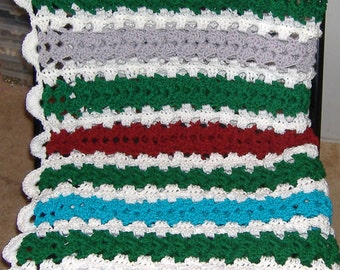 Crocheted Lapghan - Rich, Bright Multi Colors Granny Chain Stripes