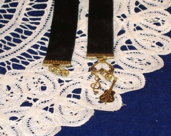 REDUCED PRICE - Booklovers Bookmark - Black Velvet Ribbon with Brass Charms & Bells - Guitar, Treble Clef