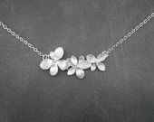 Triple Wildflower Necklace  --  Silver Necklace  --  Flower Necklace