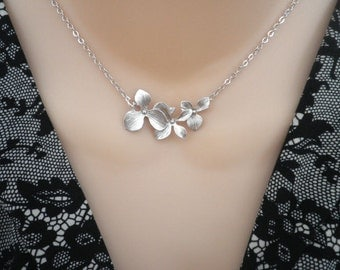 Silver Necklace  --  Triple Orchid Necklace --  Flower Necklace