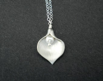 Calla Lily Necklace --  Sterling Silver Necklace -- Flower Necklace