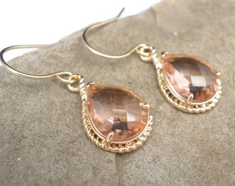 Peach Champagne Faceted Glass Gold Earrings