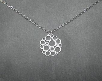 Mod Circles Necklace   --  Silver Necklace --  Bubbles Necklace