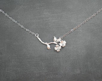 Flowering Branch Necklace --  Silver Necklace