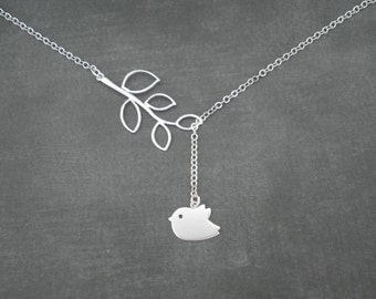 Silver Necklace -- Lariat Necklace -- Branch with Flying Mod Bird