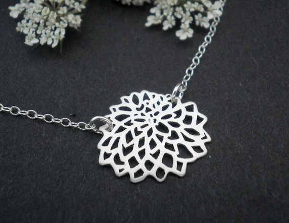 Sterling Silver Necklace  --  Dahlia Necklace -- Flower Necklace