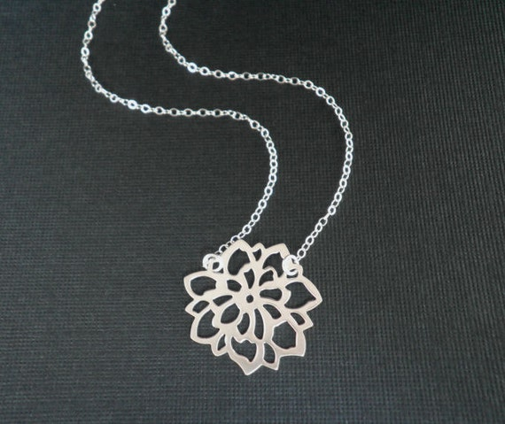 Sterling Silver Necklace  --  Chrysanthemum Necklace --  Flower Necklace