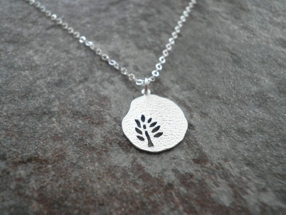 Sterling Silver Necklace --  Cutout Branch Pendant
