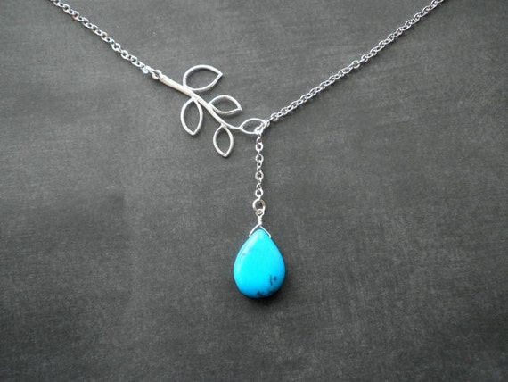 Silver Necklace -- Turquoise and Branch Lariat Necklace