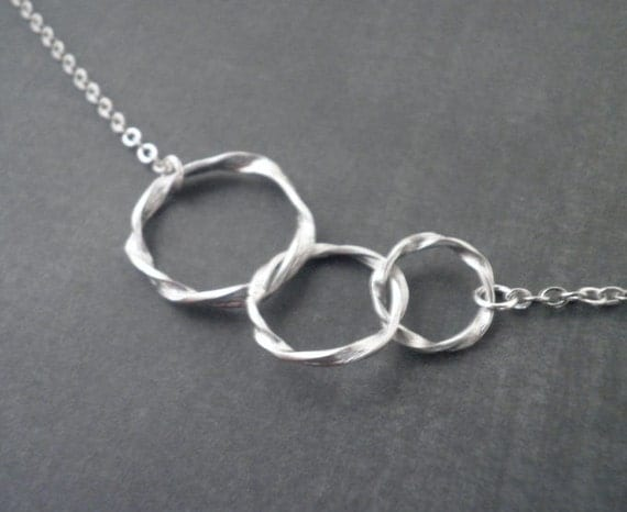 Triple Twisted Circle Necklace -- Silver Necklace