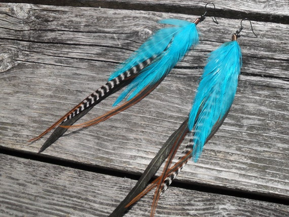 Feather Earrings Long Teal